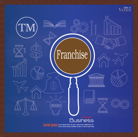 supplier: Franchise concept.franchise with Magnifier and  business   icon.vector illustration.