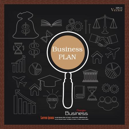 idealistic: business plan.business concept icons on chalkboard.sketch business icon.business icon.vector illustration.