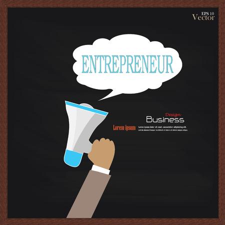 entrepreneurial: Hand holding megaphone with  entrepreneur word on chalkboard.promotion background.vector illustration.