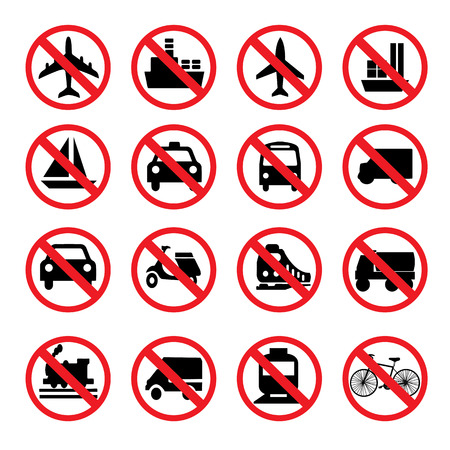 prohibitive: set of prohibit sign.