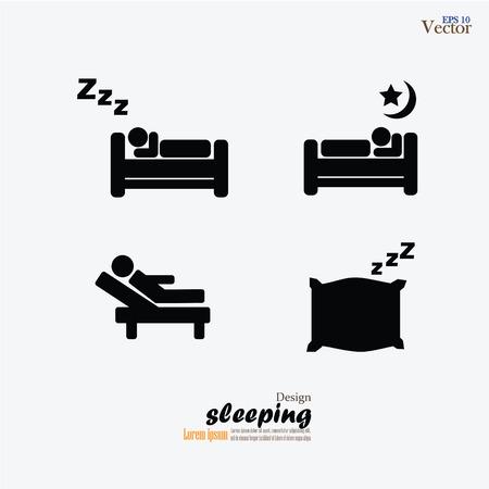 people sleeping: Sleep Related Vector Icons.
