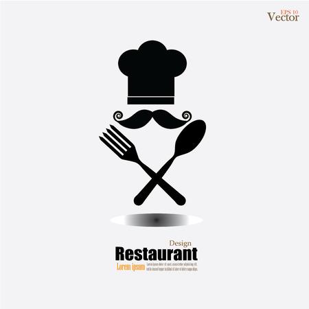 cocinero: icono del cocinero icon.Chef con cuchara y tenedor