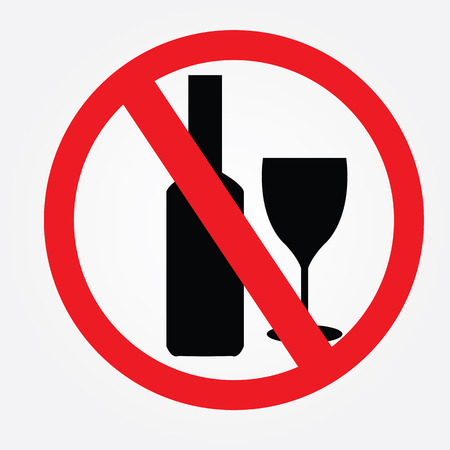 spirituous: No alcohol drinks,prohibits sign vector