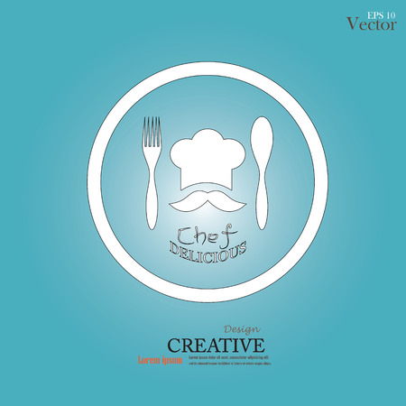 spoon fork: chef icon.Chef icon with spoon , fork and delicious word .