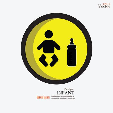 infant: baby milk bottle with infant icon. Illustration