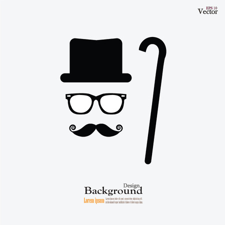 retro design elements, hats, mustaches ,walking stick and glasses.