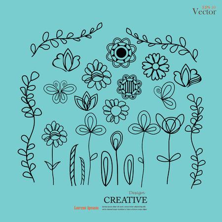 Set of flower doodles. Illustration