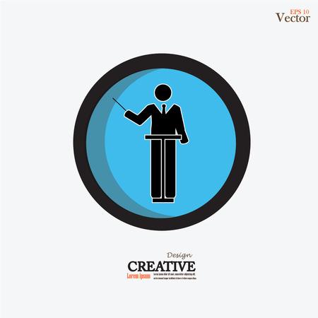 conducting: Symphony conductor man icon.vector illustration.
