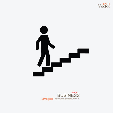 vector of man on stairs  icon.man walk on stair vector.business man.vector illustration.