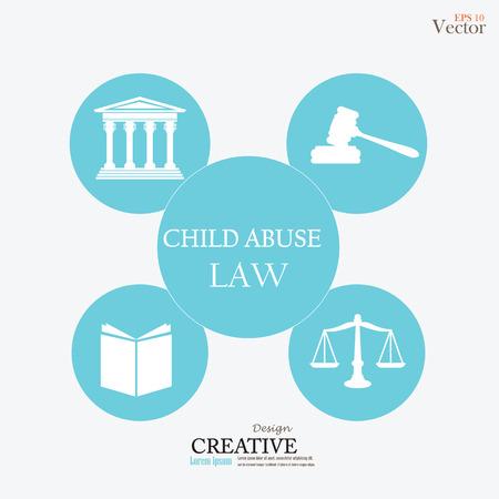 maltrato infantil: Edificio de la corte de justicia con las escalas de la justicia, libro, martillo y abuso infantil word.vector ilustraci�n ley.