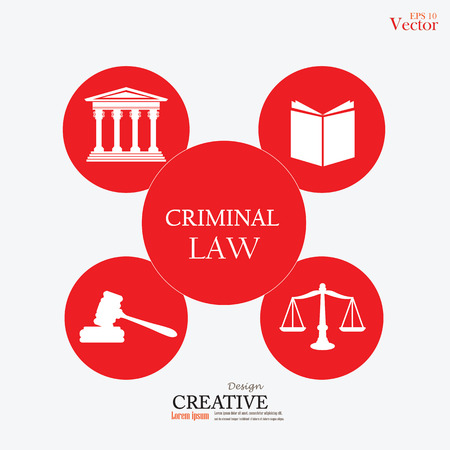 criminal law: Justice court building   with scales of justice ,book , gavel and criminal law word.vector illustration.