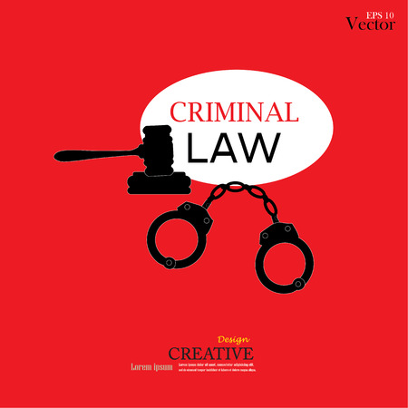 criminal law: Vector icons of handcuffs.handcuff.crime law concept.handcuff with criminal law word.vector illustration.