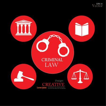 criminal law: Justice court building   with scales of justice ,book , gavel,handcuff  and criminal law word.vector illustration.