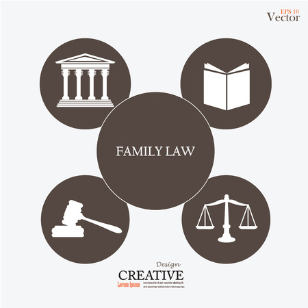 Justice court building   with scales of justice ,book , gavel and family law word.vector illustration