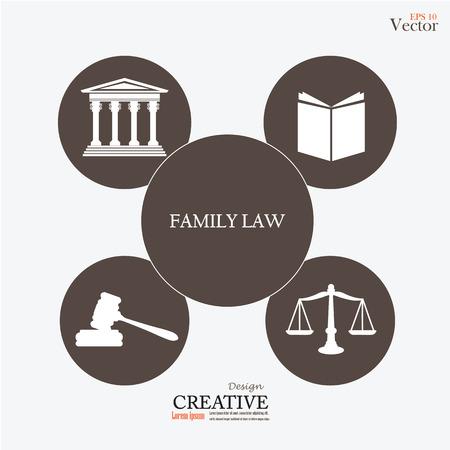 à   law: Edificio de la corte de justicia con las escalas de la justicia, libro, martillo y familiares word.vector ilustración ley