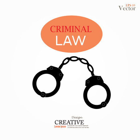 lockup: Vector icons of handcuffs.handcuff.crime law concept.handcuff with criminal law word.vector illustration.
