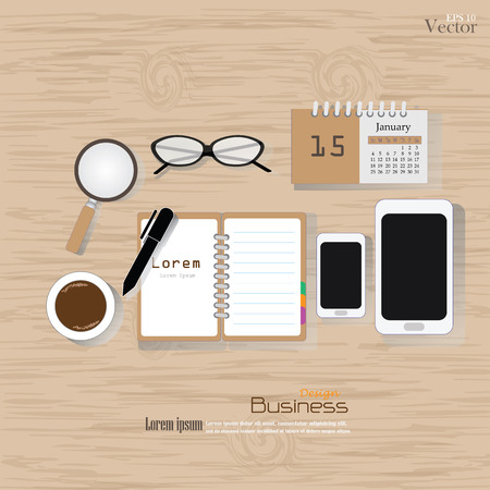 Office desk top view. Flat design style , office equipment, working tools and other business elements on wood background.vector illustration.