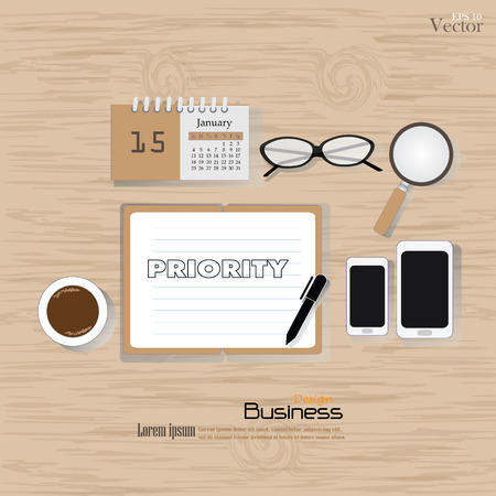 priorities: Business concept.Office desk top view with  priority word. Flat design style , office equipment, working tools and other business elements on wood background.vector illustration.