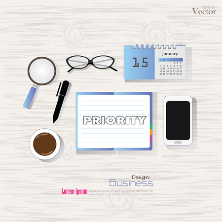 prioridades: Business concept.Office desk top view with  priority word. Flat design style , office equipment, working tools and other business elements on wood background.vector illustration.