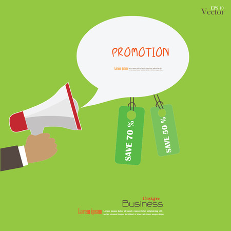 Hand holding megaphone with bubble speech and tag.promotion background.vector illustration.