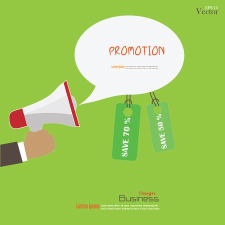 Hand houden megafoon met bubble spraak en tag.promotion achtergrond.Vectorillustratie.