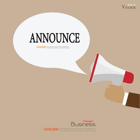 anunciar: Mano que sostiene el meg�fono con anunciar ilustraci�n background.vector word.announcement. Vectores