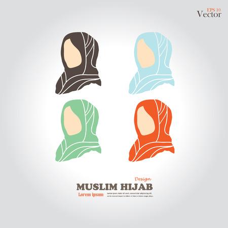 hijab: Muslim girl  icon with hijab. Asian muslim traditional  hijab.islam woman sign.vector illustration.
