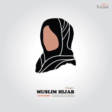 muslim fashion: Muslim girl  icon with hijab. Asian muslim traditional  hijab.islam woman sign.vector illustration.