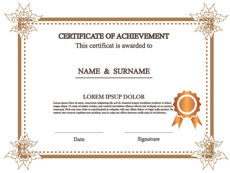 additional: premium certificate template with additional and ribbon design elements