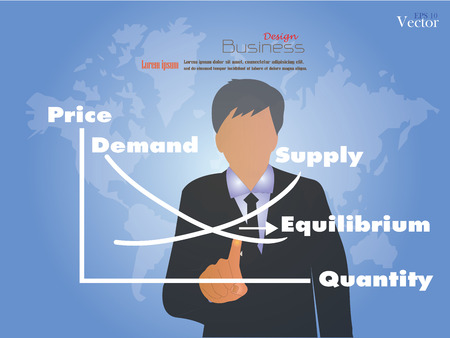 demand: business man point to demand supply on world map background