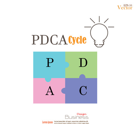 plan do check act: PDCA jigsaw background Illustration