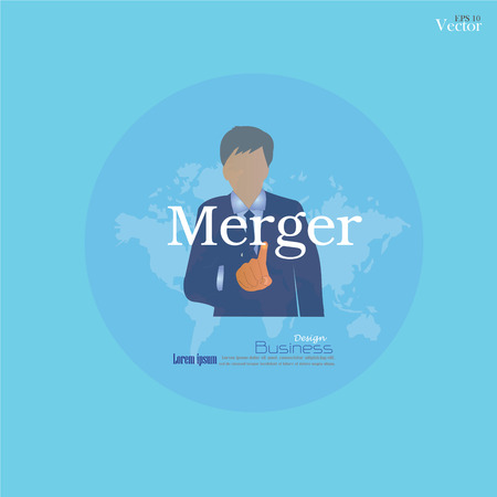 merger: Man point to merger Illustration