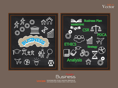 idealistic: business concept icons on chalkboard.sketch business icon.business icon.vector illustration. Illustration