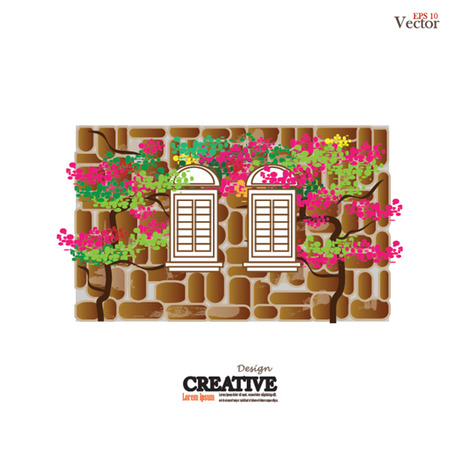 wall mounted: window design  on a brick wall background.vector illustration.
