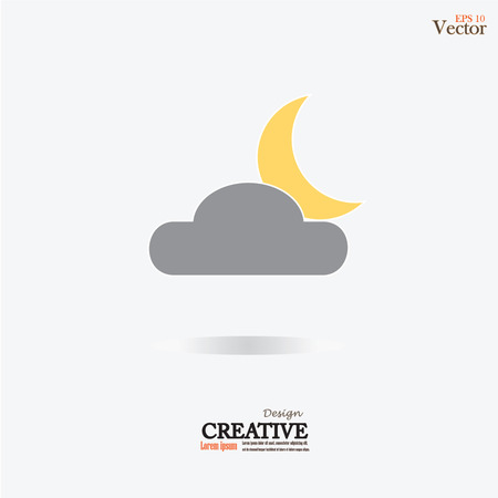 moonshine: Moon and clouds icon.moon and cloud.night concept.vector illustration. Illustration