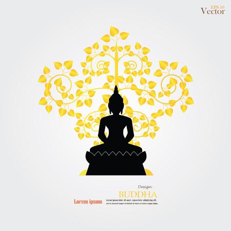 Boeddha en hart boom icoon. vector illustratie. Stock Illustratie