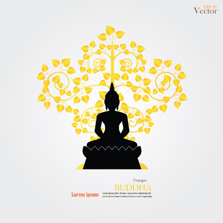 holy place: Buddha and heart tree icon. vector illustration.