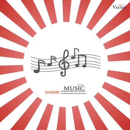 crotchets: music note. Music note on sunburst background.vector illustration.