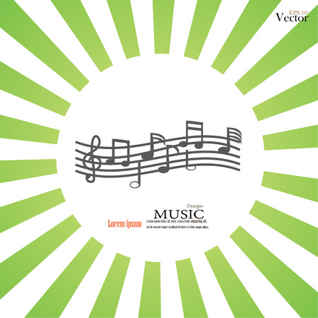 crotchets: music note. Music note on sunburst background.vector illustration.