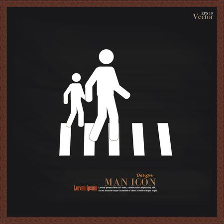 senda peatonal: Paso de peatones Sign.man Gr�fico caminar sobre el cruce de peatones icon.man icono .crosswalk en chalkboard.Vector Ilustraci�n