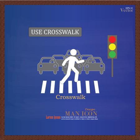 senda peatonal: Paso de peatones Sign.man Gráfico caminar sobre el cruce de peatones icon.man icono .crosswalk en chalkboard.Vector Ilustración