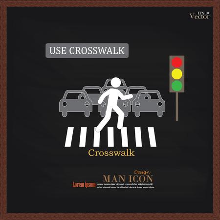 passage clout�: Crosswalk Sign.man Graphique marcher sur passage pour pi�tons icon.man ic�ne .crosswalk sur chalkboard.Vector Illustration