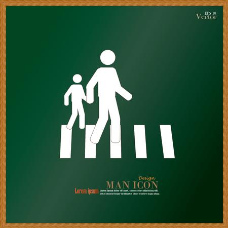 crosswalk: Paso de peatones Sign.man Gr�fico caminar sobre el cruce de peatones icon.man icono .crosswalk en chalkboard.Vector Ilustraci�n