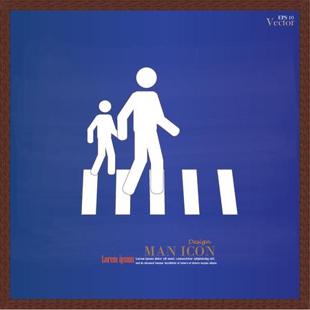 crosswalk: Crosswalk Graphic Sign.man walk on crosswalk icon.man icon .crosswalk on chalkboard.Vector Illustration