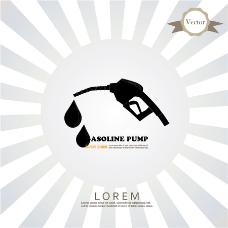 nozzle: Gasoline pump nozzle sign on sunburst background.Gas station icon. Flat design style.vector illustration. Illustration