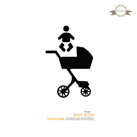 waggon: pram.pram with infant icon.baby carriage.baby cart.vector illustration.