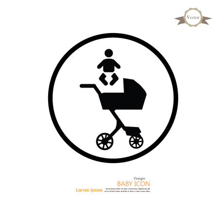 infant: pram.pram with infant icon.baby carriage.baby cart.vector illustration.