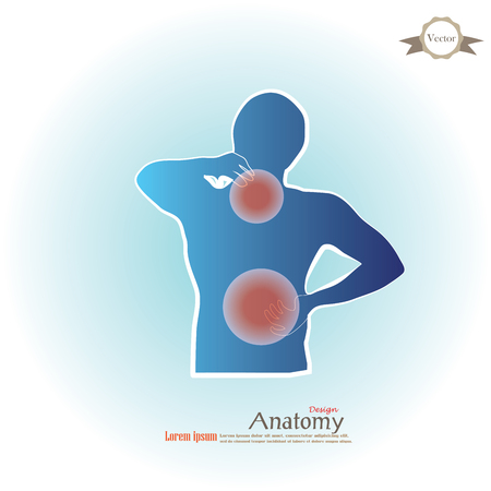 anatomie met pijn point.man met pijn in de nek en back.vector illustratie. Stock Illustratie