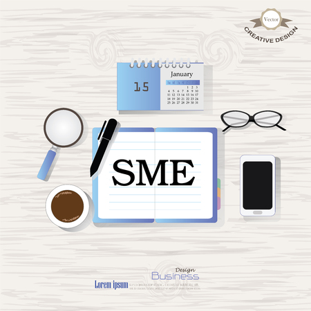 SME concept.Business concept.Office desk top view with   SME  word. Flat design style , office equipment, working tools and other business elements on wood background.vector illustration.