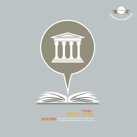 supreme: Justice court building with open book icon.courthouse.vector illustration.
